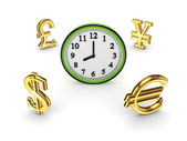 Currencies around watch. — Stock Photo