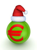 Green sphere with red symbol of euro. — Stock Photo