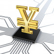 Yen symbol on processor. - Stock Photo