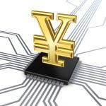 Yen symbol on processor. — Stock Photo