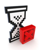Sandglass 3d icon and red cross mark. — Stock Photo
