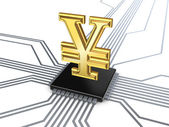 Yen symbol on processor. — Stock Photo