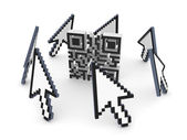 Cursors around QR code. — Stock Photo