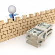 3d person behind the wall and stack of dollars. — Stock Photo