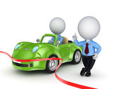 3d small person selling the car. — Stock Photo