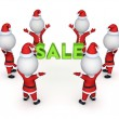 Santas around word SALE. — Stock Photo
