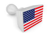 Wooden stamp with American flag. — Stock Photo