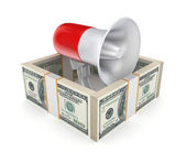 Megaphone behind a wall of money. — Stock Photo