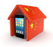 Modern mobile phone under chinese flag. — Stock Photo