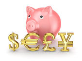 Pink piggy bank and different currencies. — Stock Photo