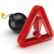 Warning sign and black bomb. — Stock Photo #23153104