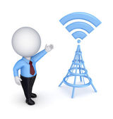 3d small person and stylized antenna. — Stock Photo