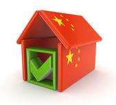 Tick mark under chinese flag. — Stock Photo