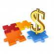 Puzzles and symbol of dollar. - Stock Photo