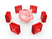 Red cross marks around pink piggy bank. — Stock Photo