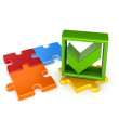 Colorful puzzles and green tick mark. — Stock Photo #25270235