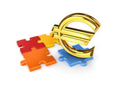 Puzzles and symbol of Euro. — Stock Photo