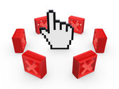 Red cross marks around cursor. — Stock Photo
