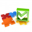 Colorful puzzles and green tick mark. — Stock Photo #25308499