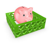 Pink piggy bank behind the wall of tick marks. — Stock Photo