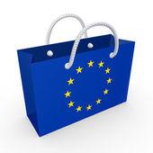 Paquet avec le drapeau de l'union européenne. — Photo