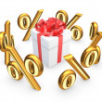Symbols of percents around gift box.. — Stock Photo