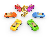 Colorful cars around dollar sign. — Stock Photo