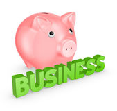 Pink piggy bank and word business. — Stock Photo