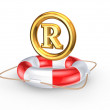 Stock Photo: Lifebuoy and R symbol.