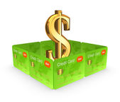 Dollar sign behind the wall of credit cards. — Stock Photo