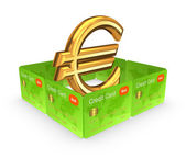 Euro sign behind the wall of credit cards. — Stock Photo
