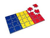 Bandera rumana de rompecabezas. — Foto de Stock