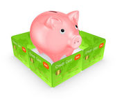 Pink piggy bank behind the wall of credit cards. — Stock Photo