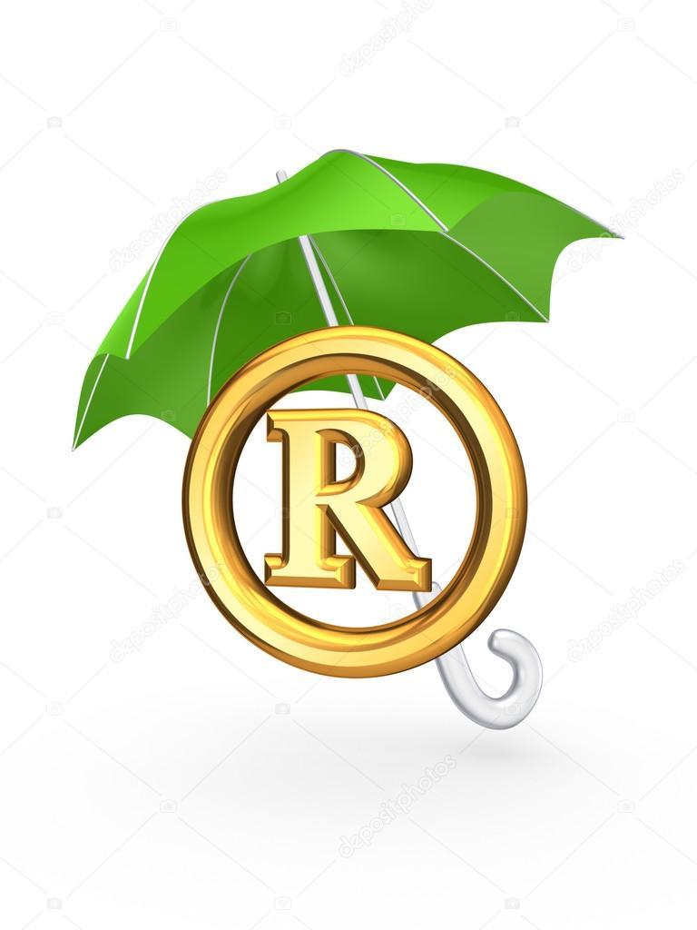 R symbol under green umbrella. — Stock Photo © rukanoga ... R Symbol
