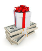 Gift box on a stack of dollars. — Stock Photo