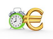 Green watch and sign of euro. — 图库照片