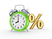 Símbolo de porcentajes y reloj verde. — Foto de Stock