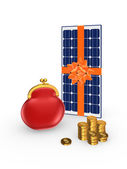 Solar battery and golden coins. — Stock Photo
