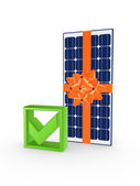 Solar battery and tick mark. — Stock Photo