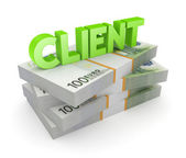 Word CLIENT on a stack of euro. — Stock Photo