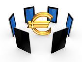 Tablet PCs around sign of euro. — Stock Photo