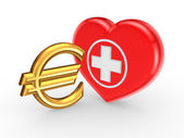 Euro sign and symbol of medicine. — Stock Photo