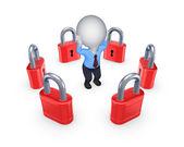 Red locks around worried 3d person. — Stock Photo