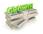 Ordet tillväxt på en bunt dollar. — Stockfoto