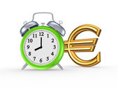 Green watch and sign of euro. — Stock Photo