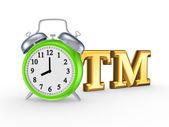 Símbolo de marca registrada y reloj verde. — Foto de Stock