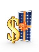 Solar battery and symbol of dollar. — Stock Photo