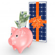 Solar battery and pink piggy bank. — Stock Photo