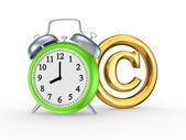 Reloj verde y el símbolo de copyright. — Foto de Stock