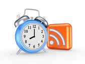 Reloj azul y símbolo de rss. — Foto de Stock